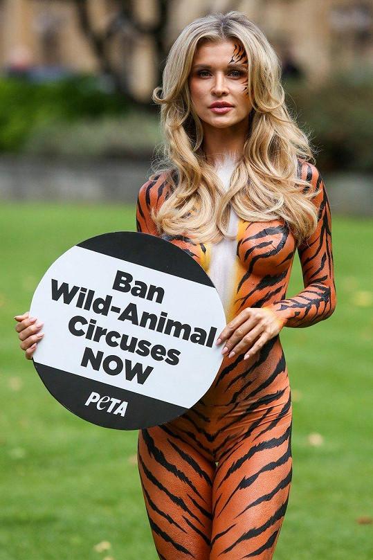 Joanna Krupa se v 'tygří kůži' rve za práva zvířat.