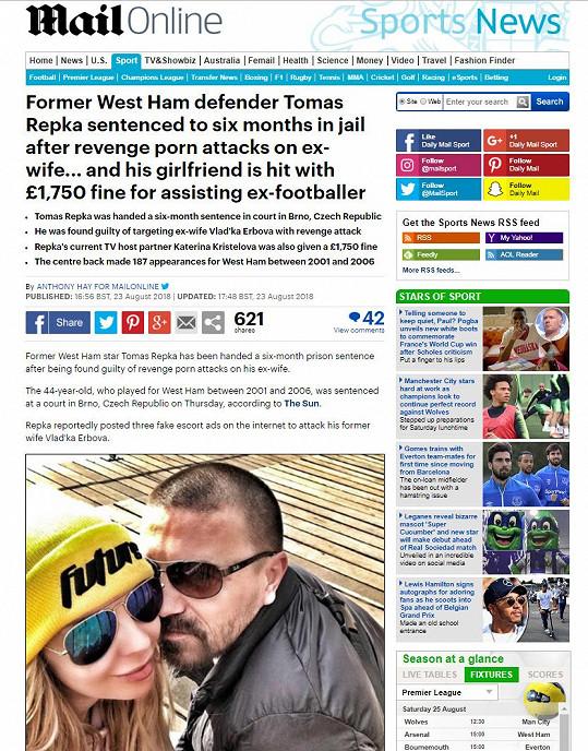Katka s Tomášem jsou i na stránkách Daily Mailu.