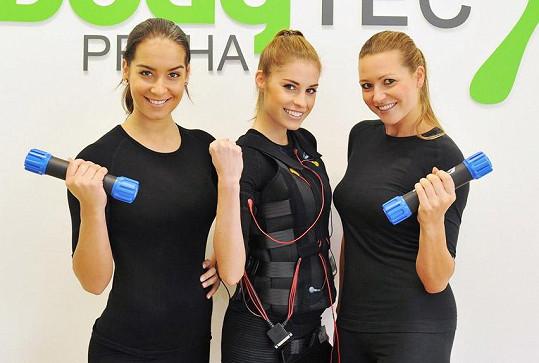 Při cvičení se sešla s kamarádkami Terezou Budkovou a Evou Čerešňákovou.