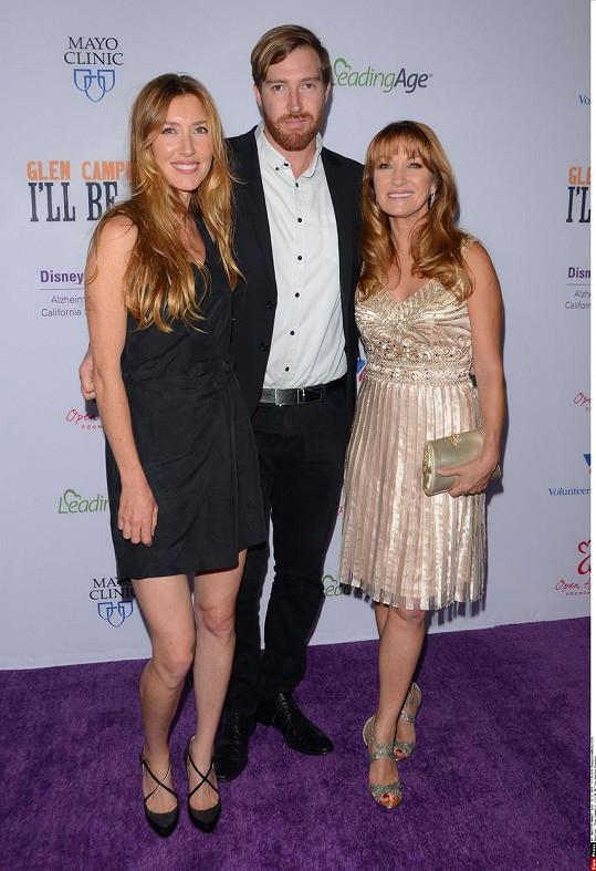 Hvězda seriálu Doktorka Quinnová s dcerou Katherine a synem Seanem.
