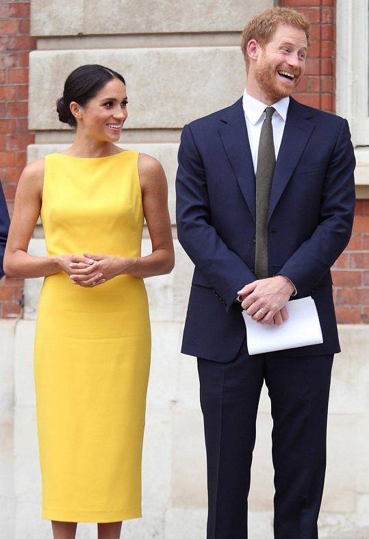 Harry se vedle své krásné ženy stále usmívá.