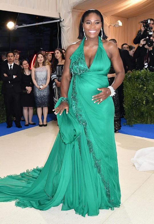 Na Met Gala zvolila tyrkysové šaty.