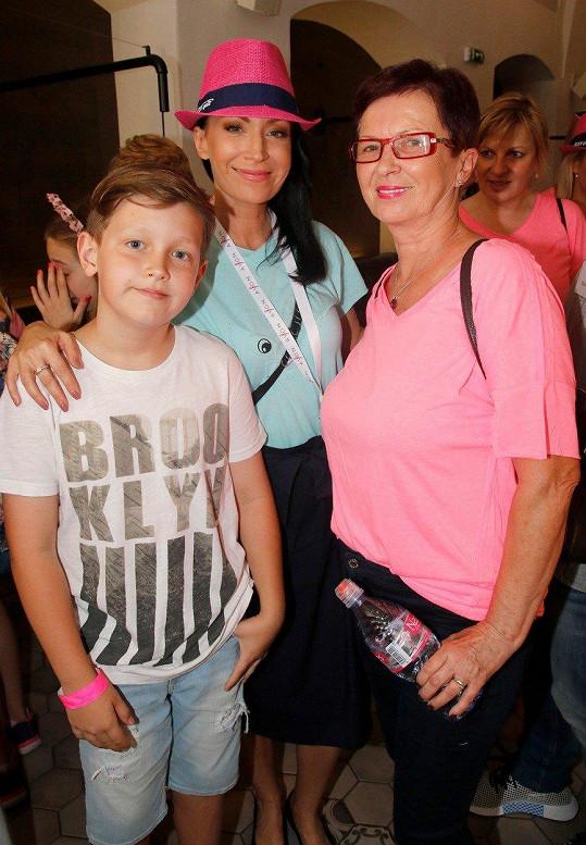 Gabriela Partyšová se synem Kristianem a svou maminkou