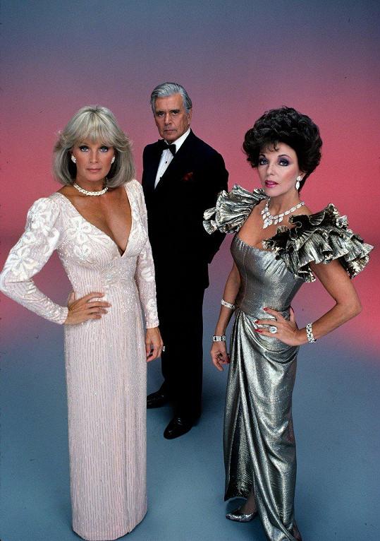 Slavné trio z Dynastie: Zleva Linda Evans, John Forsythe a Joan Collins aka Krystle, Blake a Alexis