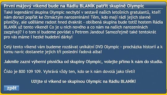 Rádio mělo informaci o Olympiku na webu ještě v době psaní článku.