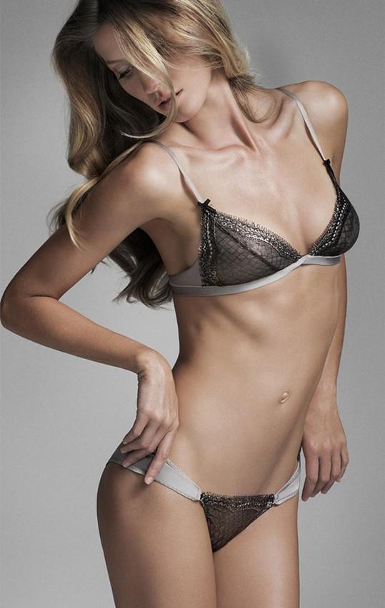 Spodní prádlo podle návrhů modelky je velice slušivé a nápadité.