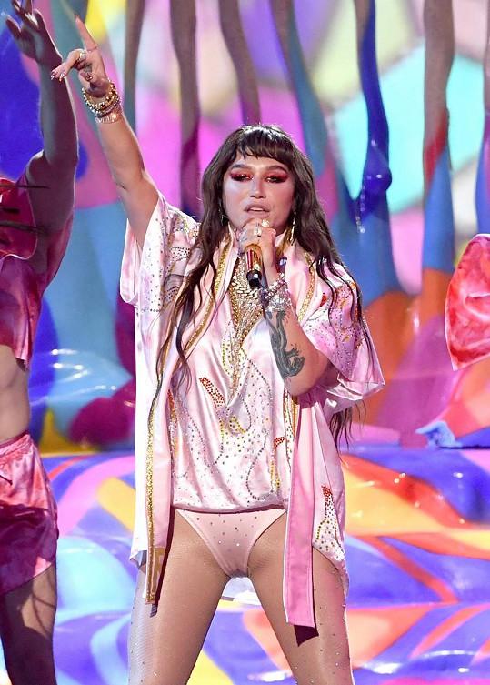 Při vystoupení ukázala Kesha kalhotky.