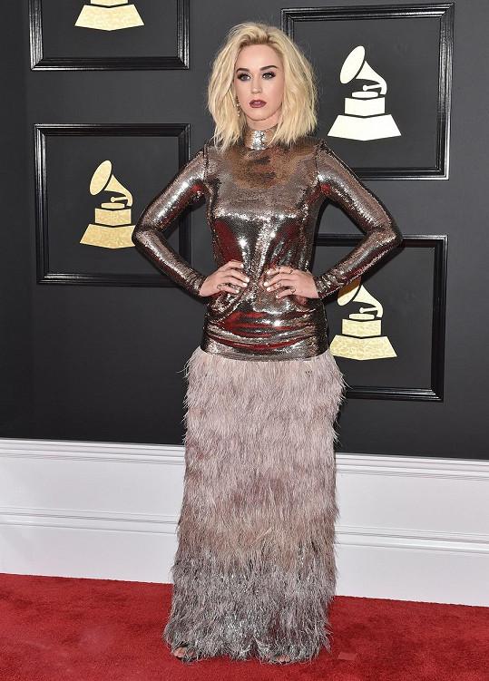 V modelu od Toma Forda, složeného z přiléhavého metalického topu a sukně pokryté rajčím peřím, byla Katy Perry karikaturisty na internetu okamžitě přirovnávána k pštrosici. No něco na tom asi bude.