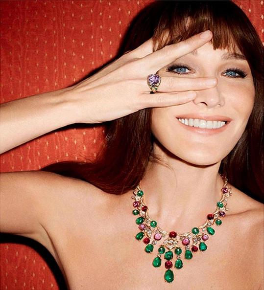 Carla Bruni jako tvář šperků Bvlgari