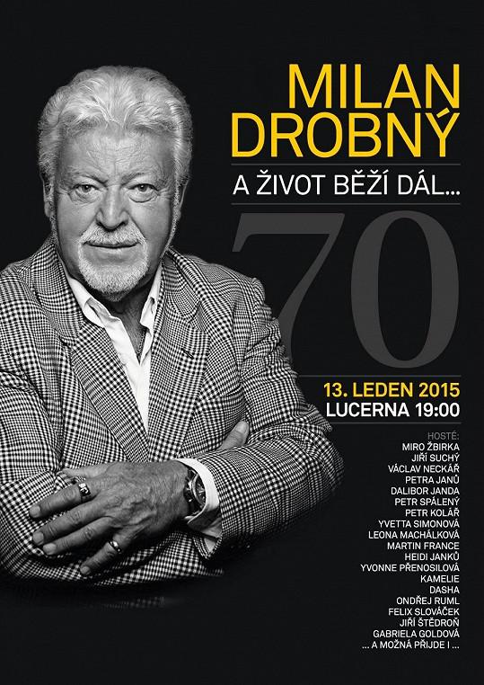 Plakát k jeho narozeninovému koncertu v Lucerně