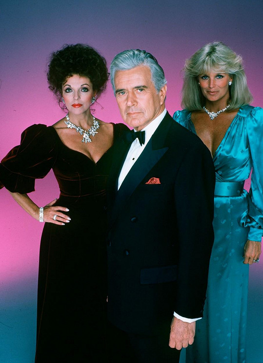 Joan Collins, John Forsythe a Linda Evans v seriálu Dynastie