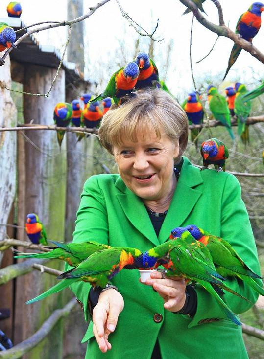 Angela a její laškování s papoušky.