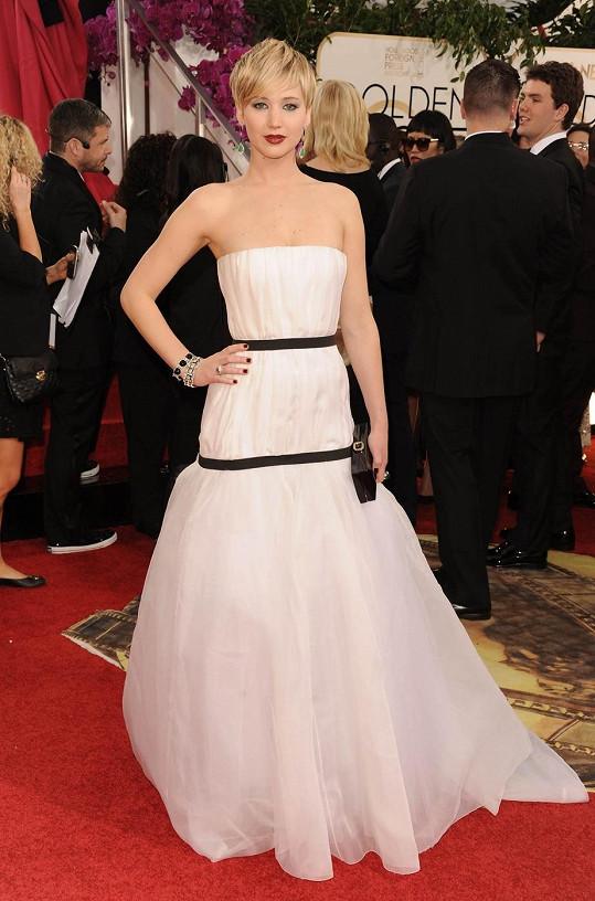 Jennifer Lawrence na nedávném předávání Zlatých glóbů.