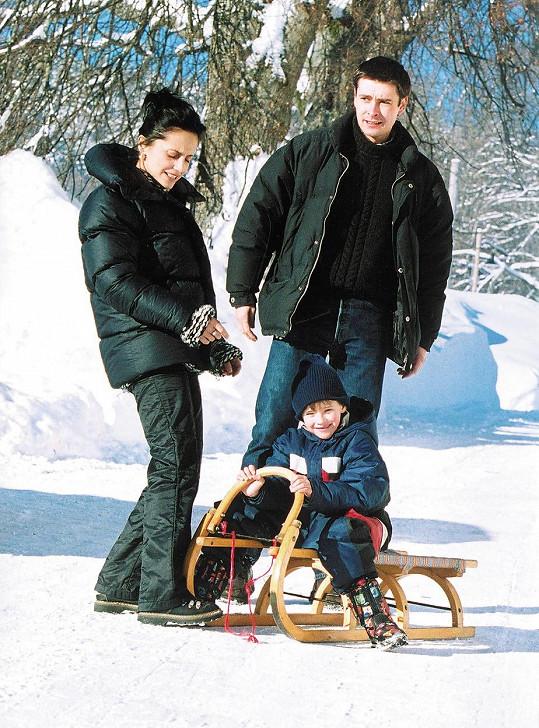Lucie Bílá se svým prvním manželem Stanislavem Penkem a synem Filipem, kterého má s podnikatelem Petrem Kratochvílem.