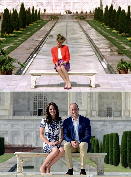 William se s ženou objevil na nostalgickém místě a seděl na stejné lavičce jako jeho maminka.