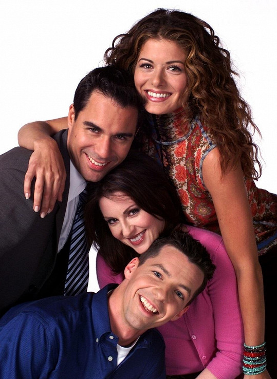 Hlavní osazenstvo seriálu Will a Grace - Eric McCormack, Debra Messing, Megan Mullaly a Sean Hayes