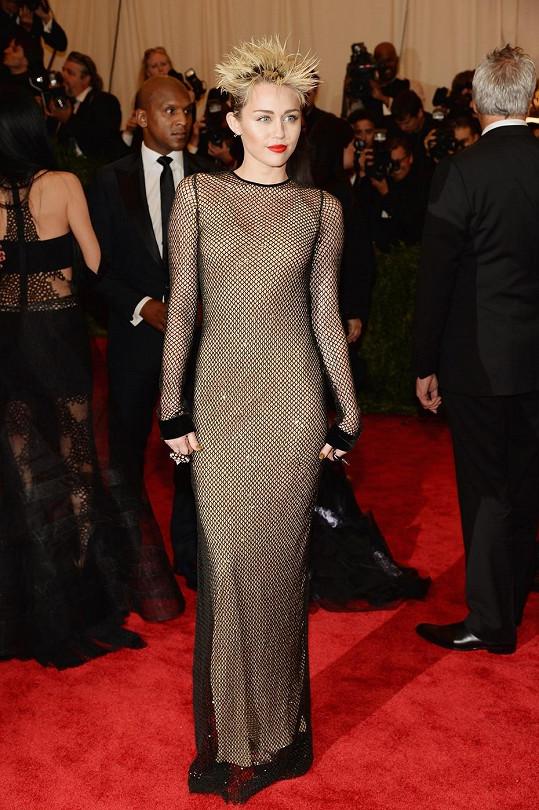 Miley to přesně vystihla, když se punkem pouze inspirovala a oblékla síťované šaty ve stylu oblečená neoblečená od Marca Jacobse a nechala si na hlavě vytvořit bláznivý rozcuch. Líčení včetně rudé rtěnky působilo ale velmi jemně a žensky, což celkový dojem parádně vyrovnalo.