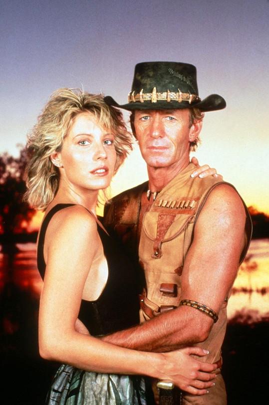 Paul Hogan jako Krokodýl Dundee s hereckou i životní partnerkou Lindou Kozlowski