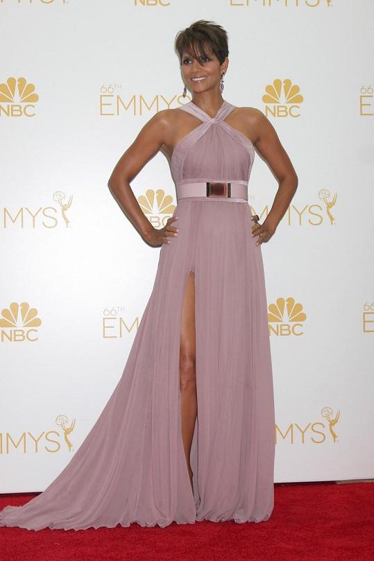 Halle Berry vypadala opravdu skvostně v šifonovém modelu v popelavé růžové barvě se sametovým lemováním.