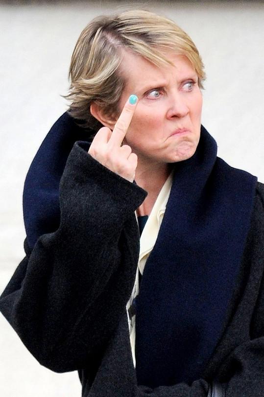 Cynthia Nixon při natáčení filmu Life Itself