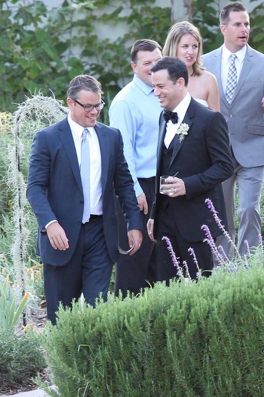 Damon s Jimmym Kimmelem na jeho loňské svatbě