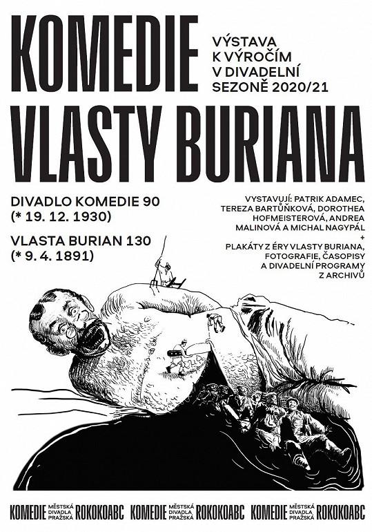 Plakát Městských divadel pražských k nové výstavě Komedie Vlasty Buriana, autorem kresby je Michal Nagypál.