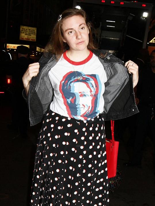 Lena Dunham podporovala Hillary Clinton.
