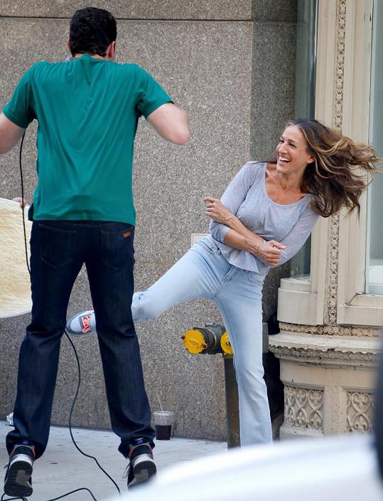 Sarah Jessica na proslulé ulici pěkně řádila.