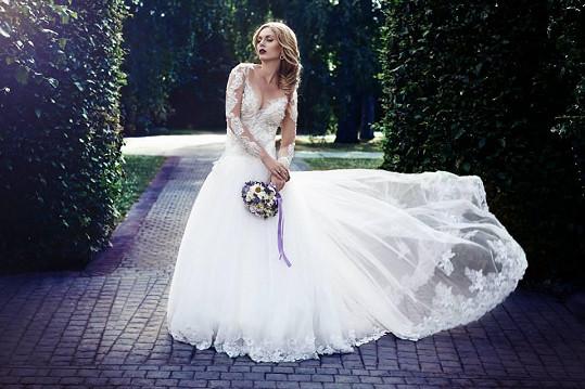Tento skvostný model oblékla na Svatebních šatech roku těhotná Gábina Dvořáková.