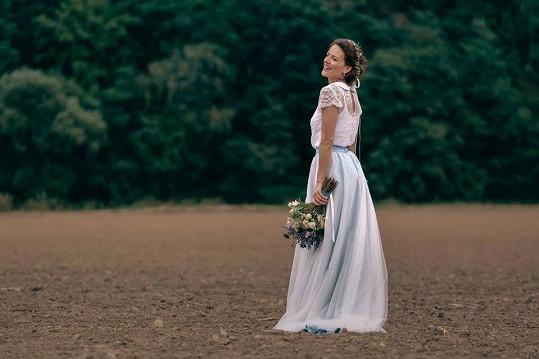 Andrea Růžičková, za svobodna Kerestešová, měla šaty od návrhářky Veroniky na své svatbě.