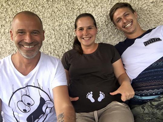 Honza Musil s dcerou Lucií a současným přítelem Jakubem