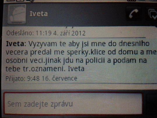 Údajná esemeska od Bartošové. Macura tvrdí, že jí vzal Rychtář mobil a píše za ni.