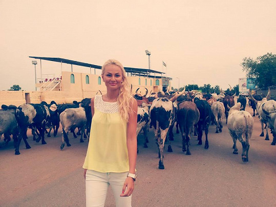 Tereza v Jižním Súdánu narazila na stádo buvolů.