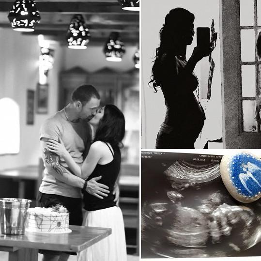 Tereza vytvořila láskyplnou koláž ze snímků s přítelem, těhotenského bříška a ultrazvuku.