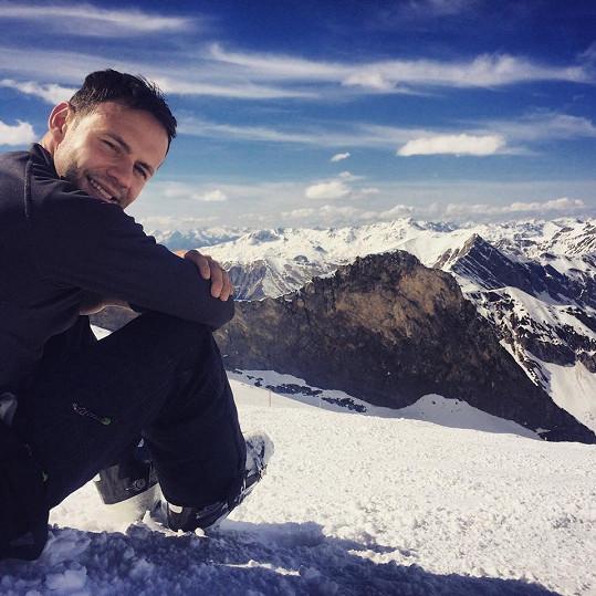 Na ledovci Hintertux v Alpách