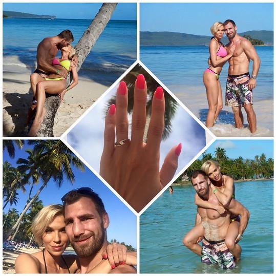 Hanka ukázala prstýnek, který jí partner navlékl.