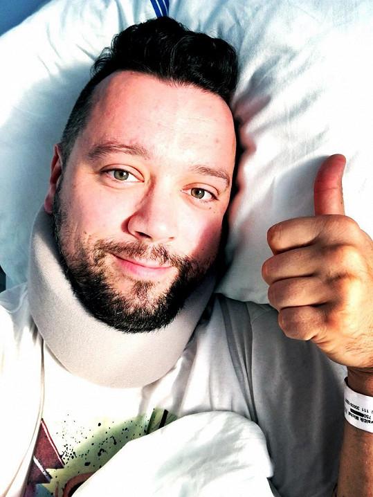 Michal Kavalčík leží v nemocnici.