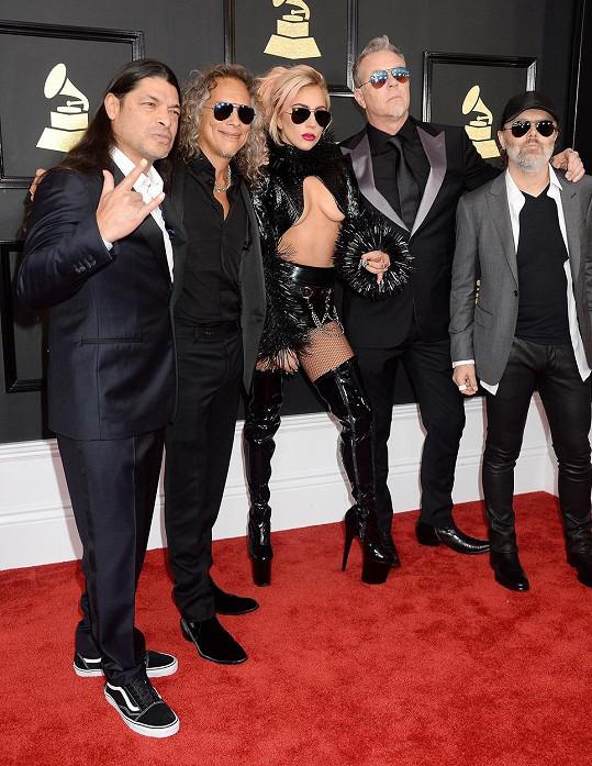 Lady Gaga se členy kapely Metallica