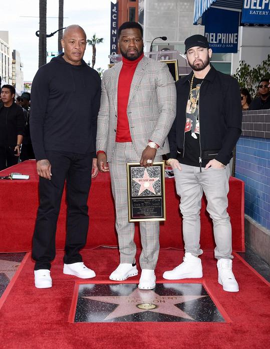 Eminem se svými kolegy a blízkými kamarády 50 centem a Dr. Dre