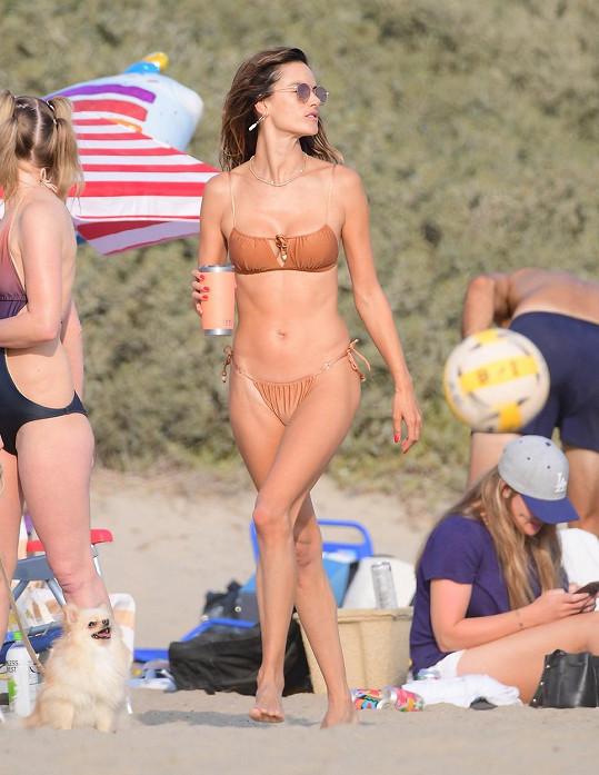 Alessandra Ambrosio zvolila pro slunný den v Santa Monice bikiny v tělové barvě.
