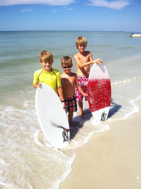 Synové Petry jsou na Floridě parťáky malého Kristiána Kokty.