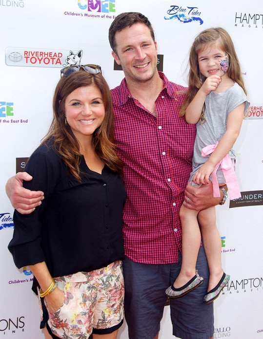 Tiffani Thiessen s manželem Bradym Smithem a dcerou Harper