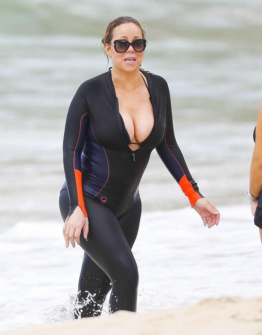 Mariah Carey na nedávné dovolené v Karibiku