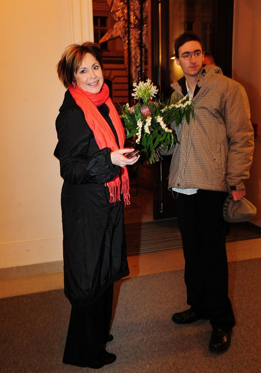Ilona Svobodová v roce 2008 se synem Filipem na cenách Anno