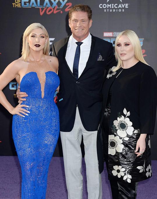 David Hasselhoff s dcerami Taylor Ann a Hayley (vpravo).