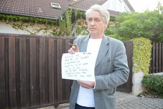 Josef Rychtář ukázal dopis pro Artura, na který připsal čtyři dny staré datum.