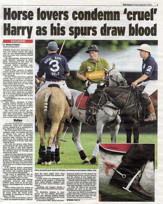 V roce 2010 došlo během póla ke zranění princova koně ostruhami.