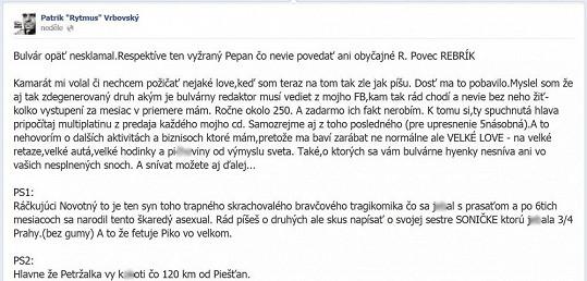 Patrik Rytmus Vrbovský se neomaleně pustil do Petra Novotného a jeho dcery.
