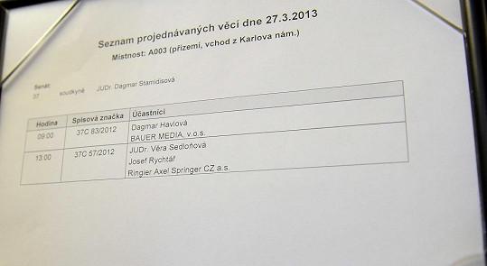 Před Rychtářovou věcí v síni proběhl soud Dagmar Havlové.