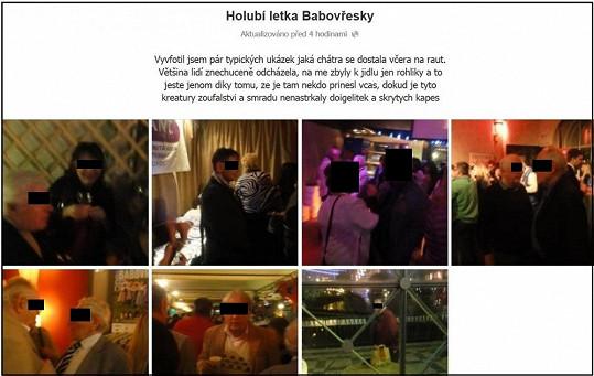 Producent Babovřesek umístil na web fotky údajných holubářů na rautu.